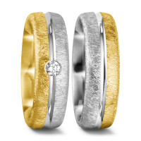 Partnerring 750/18 K Gelbgold, 750/18 K Weissgold Diamant 0.07 ct