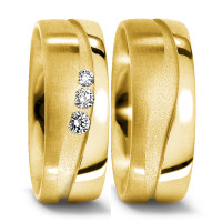Partnerring 750/18 K Gelbgold Diamant 0.105 ct