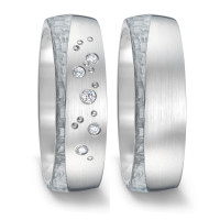 Partnerring Titan, Carbon Diamant 0.06 ct